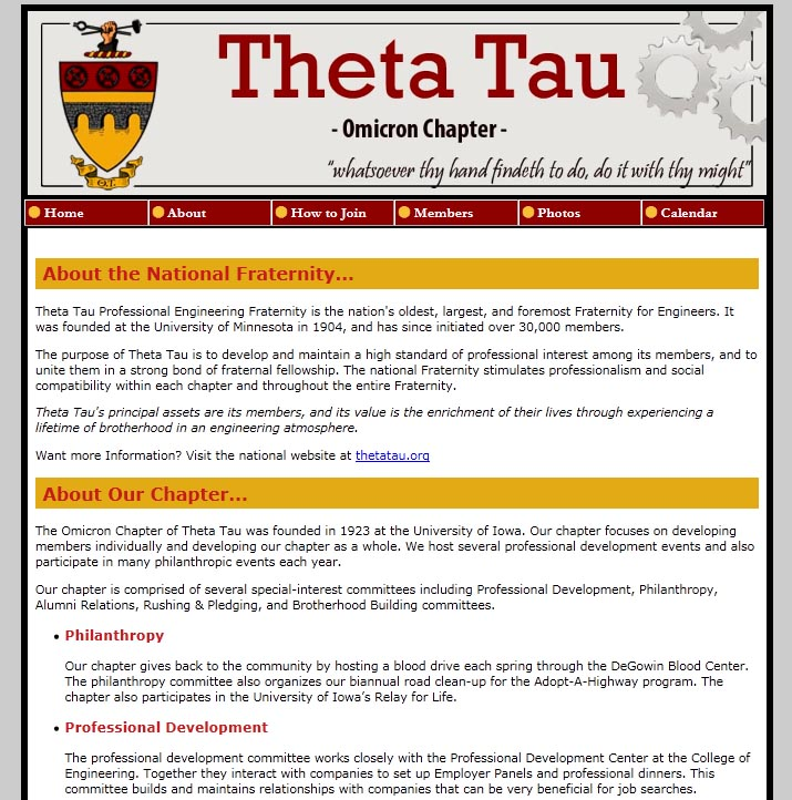 Theta Tau - Omicron website